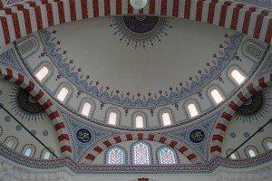 Achgabat La Mosquée  Bleue ouTurque ou Ottomane ou Erguzul Gazi intérieur 02 plafond détail Turkménistan