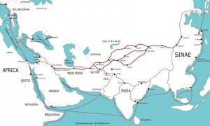 carte de la route de la soie 03 entre 500 av JC et 500 ap JC