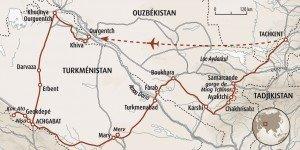 carte turménistan - Ouzbékistan