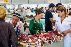 Chorsu Tashkent - marché de la viande au rez de chaussée