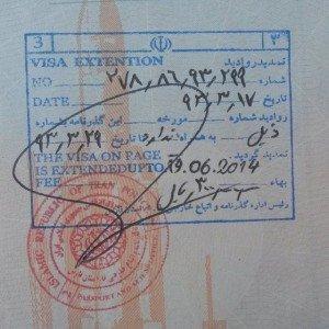 extension du visa pour l'Iran