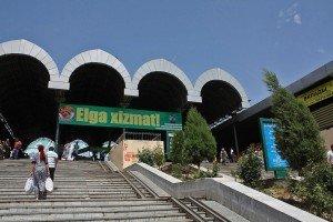 Tachkent l'entrée de la grande coupole du bazaar Chorsu