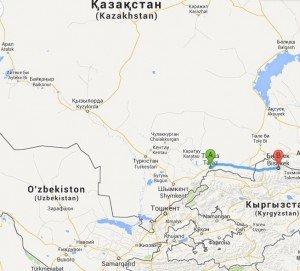 carte Baïkonur - Bichkek