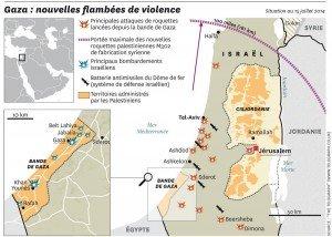 carte de la bande de Gaza en 2014