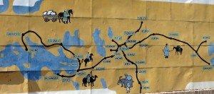 carte de la route de la soie dans Khiva