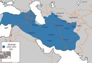 carte de l'empire des ilkhanates de 1256 à 1353