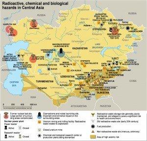 carte du KAZAKHSTAN n°06 centrales s nucléaires