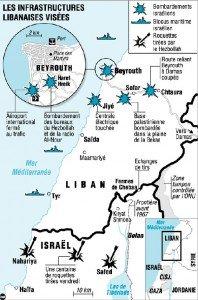 carte du Liban après 27 juillet 2006