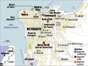 carte du Liban Beyrouth en 2006