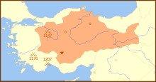 carte du sultanat Sedljoukide de Rum en 1190