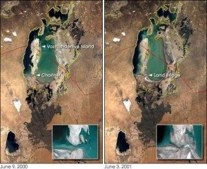 Mer d'Aral 08 île de Vozrozhdeniya partagée entre Ouzbékistan et Kazakhstan