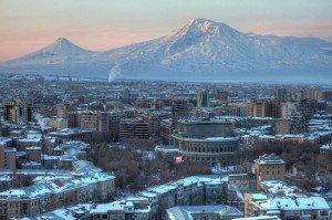 Yerevan Arménie avec le mont Ararat en hiver