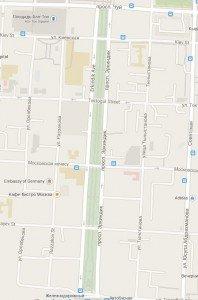 carte de Bishkek centre 04 Erkindik Avenue