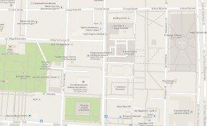 carte de Bishkek centre 05 Frunze avenue et place de la VictoireErkindik Avenue