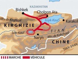carte des routes autour du lac d'Issyk Koul et Son Koul  jusqu'à Bishkek 02