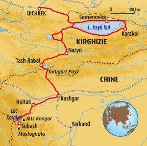 carte des routes jusqu'à Kashgar