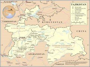 carte du tadjikistan grand