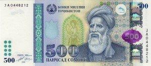 portrait de Roudaki sur un billet de 500 somoni tadjik