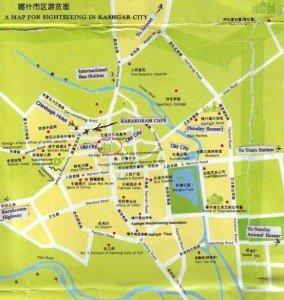 carte Kashgar centre IdKah mosquée