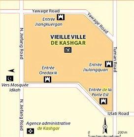 carte Kashgar centre vieille ville 01