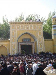Mosquée Id Kah de Kashgar 08 extrait ou coupure de Coran sept 2010