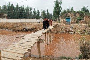 pont de bois à Kashgar