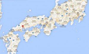carte situation de Miyajima par rapport à Tokyo