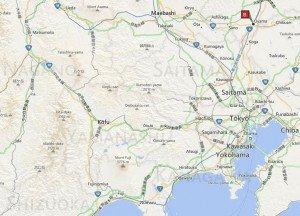 carte du Shinkansen autour du Mont Fuji