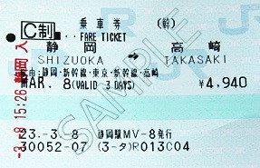 Shinkansen billet de base 01