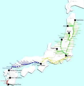 Shinkansen carte des lignes 03 détaillées
