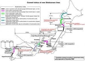 Shinkansen carte des lignes 05 avec les distances