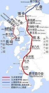 Shinkansen carte des lignes 05 détaillées Kyushu Shinkansen
